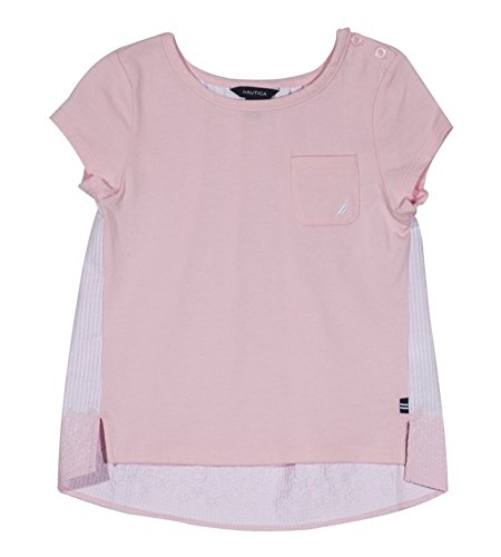 Nautica Girls' Little Short Sleeve Fashion Tee, Two Tone Light Pink ()