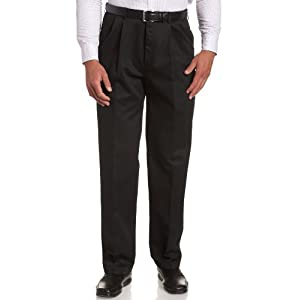 Haggar Men's Work-To-Weekend Khaki No-Iron Pleat-Front Pant with Hidden Expandable Waist 24