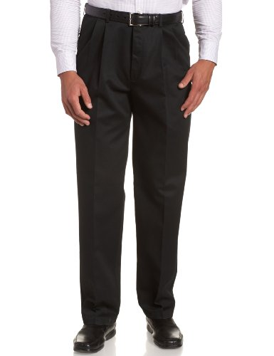 Two Pant Pleat - Haggar Men's Work To Weekend Khakis Hidden Expandable Waist No Iron Pleat Front Pant,Black,42x30