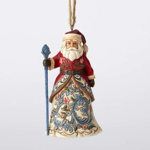 Large Santa Hanging Ornaments - Jim Shore Heartwood Creek Norwegian Santa Stone Resin Hanging Ornament, 4.6