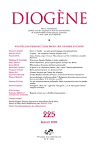 Diogène, N° 225, Janvier 2009 : Nouvelles perspectives dans les gender studies par Nicole G. Albert