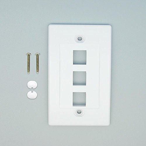 GOWOS (100-Pack) 3Port Keystone Wallplate White Decora - Duplex Receptacle Acenti