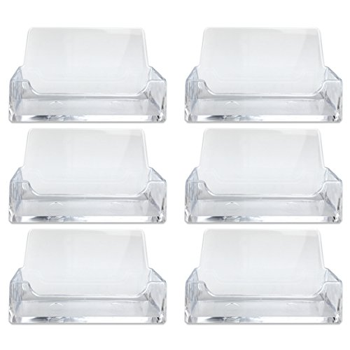 Beauticom (Quantity: 6 Piece) Clear Acrylic Single Compartment Desktop Business Card Holder Display Stand