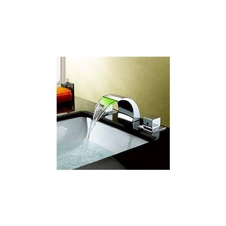 Sumerain S1247CM Double Handle Widespread LED Waterfall Bathroom ...