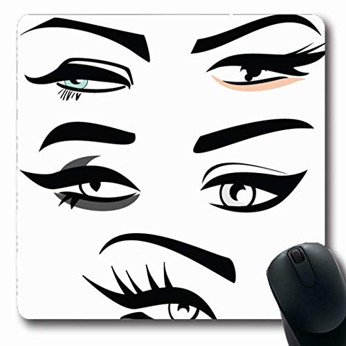 Ahawoso Mousepads Extension Eyebrow Four Eye Shape Eyeliner Makeup Eyeshadow Shaping Abstract Design Waxing Oblong Shape 7.9 x 9.5 Inches Non-Slip Gaming Mouse Pad Rubber Oblong Mat