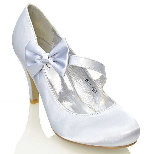 WOMENS BRIDAL STILETTO WHITE IVORY SATIN LADIES HEELS WEDDING BRIDESMAID COURT SHOES SIZE 3 4 5 6 7 8 Silver Satin xh2VU