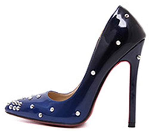 Easemax Womens Luxueuze Gradient Stiletto Puntige Teen Klinknagel D-orsay Lage Top Slip Op Hoge Hakken Pumps Schoenen Blauw