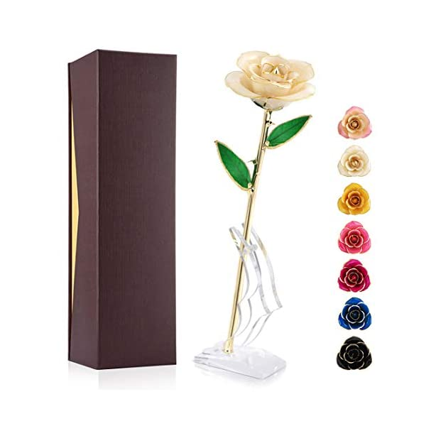 Ejoyous 24K Gold Rose, Forever Preserved Real Rose Gift for Lover Mom Wife Daughter Girl Friend, Unique Present on Valentines Day, Wedding Anniversary, Birthday, Proposal, Reward (Ivory with Stand)