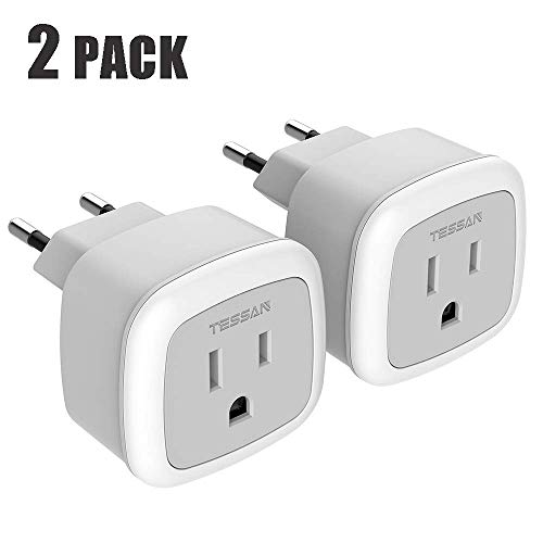 European Travel Plug Adapter, TESSAN International US to The Most Europe Outlet Adapter, Lightweight, Compact Size for Traveler, Power adapter for EU Type C Country Such as Italy, Iceland(2 Pack)