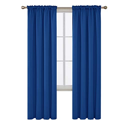 Deconovo Blue Blackout Curtains Thermal Insulated Bedroom Curtains Window Curtains for Boys Room 42W x 84L Inch Royal Blue 2 Panels (Ombre Curtain Panel Blue)