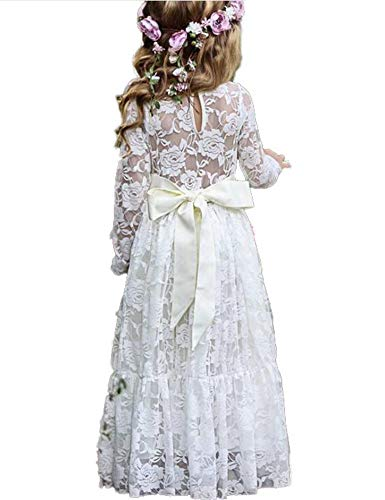 (Baby Flower Girl Fancy Ivory White Lace Boho Long Sleeve Full Length Slim Maxi Princess Dresses)