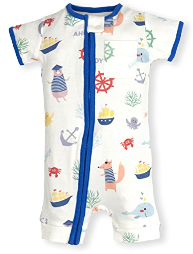 Frugal Organics Zipper Romper Short Sleeve Sizes NB- 24M | 6 Patterns (9 Months, Pirates)