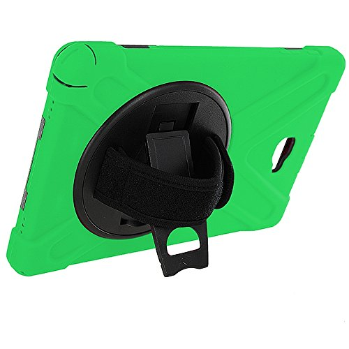 Galaxy Tab A 10.1 Case Cover by KIQ TM Hybrid Protective Shield Case Cover w/ Palm Handstrap for Samsung Galaxy Tab A 10.1 P580 w/ S Pen (Shield Green) (Samsung Galaxy Tab S Case Rugged)