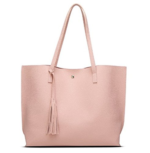 Woman Rivet Shoulder Tassel 30cmXMax Pink Artificial Leather Hand Bag Female LengthX50cm Designer Ladies Bag Arrival Totes Handbag Big Gold wvwqYg8n