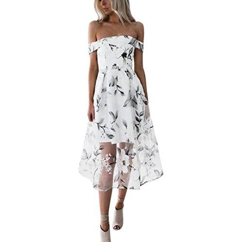 ZEZKT☀Schulterfrei Blumen Kleid Sommer Rock Kurze Kleider ...