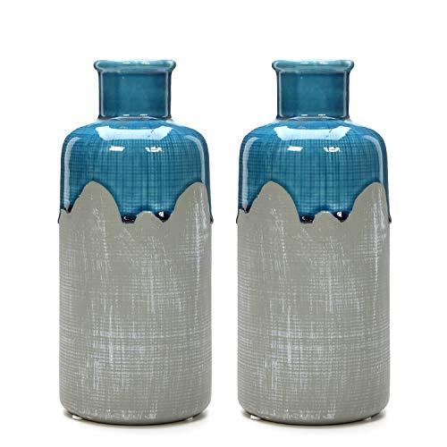 Hosley Set of 2 Large Ceramic Floral Vases - 9