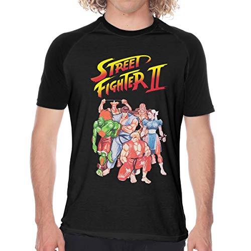 Men's Casual Short Sleeve Baseball Tshirt Raglan Jersey Shirt, Street Fighter II Video Game Inspired Black