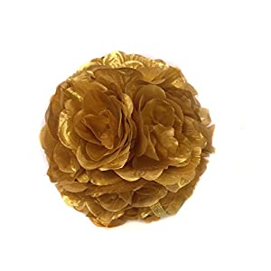 Ben Collection Fabric Artificial Flowers Silk Rose Pomander Wedding Party Home Decoration Kissing Ball Trendy Color Simulation Flower (Gold, 20cm) 107