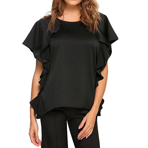 Zeagoo Womens Ruffle Tops Short Sleeve Shirts Ladies Satin Summer Trendy Blouses S-XXL (XL, Black)