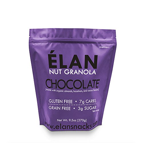 (ELAN Dark Chocolate Macadamia Granola, Keto Dessert, Low Net Carb Fat Bomb Snack, Low Fodmap Diet Cereal, Organic Paleo Breakfast Food (9.5 Oz Travel Bag))