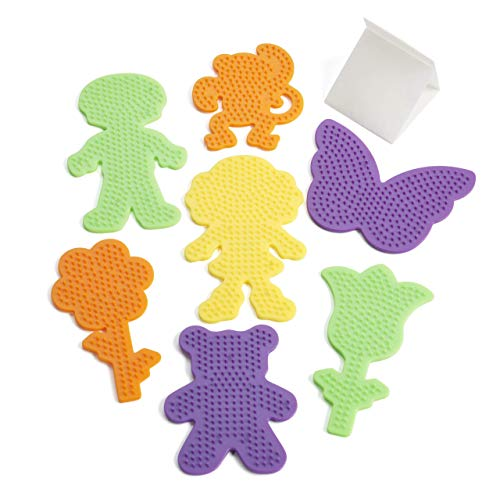 Perler 22645 Fuse Bead Pegboards 7-Pack-Boy/Girl/Bear/Monkey/Butterfly/2 Flowers