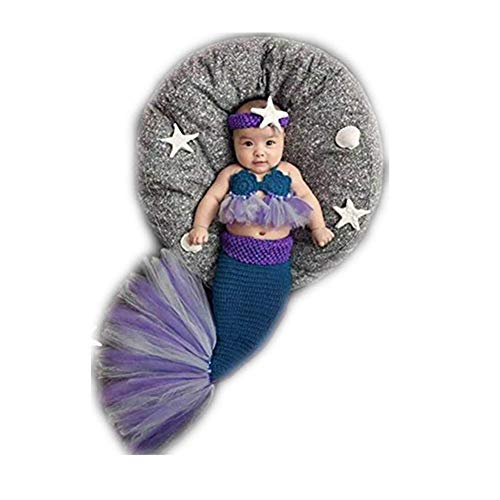 Fashion Newborn Boy Girl Baby Costume Outfits Knitted Photography Props Mermaid Blue ()