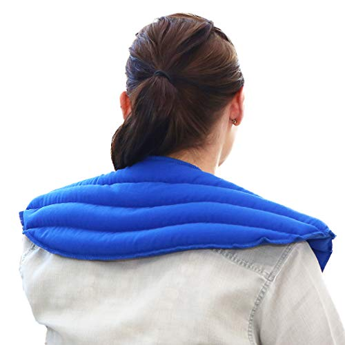 My Heating Pad - Neck and Shoulder Wrap for Anxiety, Tension, Headache Relief-Microwavable & Reusable Hot Therapy Pack (Blue)