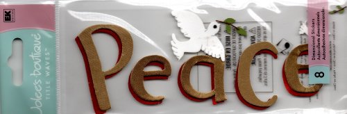 Holiday Title Waves 3-D Stickers-Peace