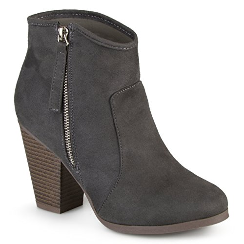 Journee Collection Women's High Heel Faux Suede Ankle Boots Charcoal, 7.5 Wide Width (Ladies High Heel Boots)