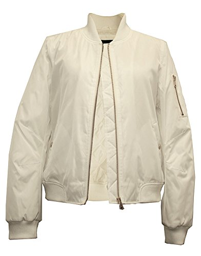 Miss London Ladies Basic Bomber Flight Jacket – White (L) 41R 6cPTsPL