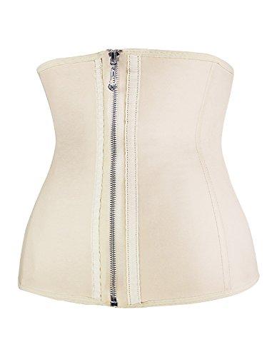 Burvogue donna tre ganci in lattice Vita Trainer corsetto Body shapewear Beige Small