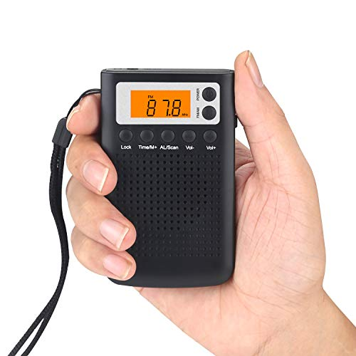 DSP AM/FM Pocket Radio Receiver Compact Mini Portable Digital Tuning LCD Display Stereo Personal Radio Alarm Clock Transistor with Clip/Speaker/Hand Rope Antenna