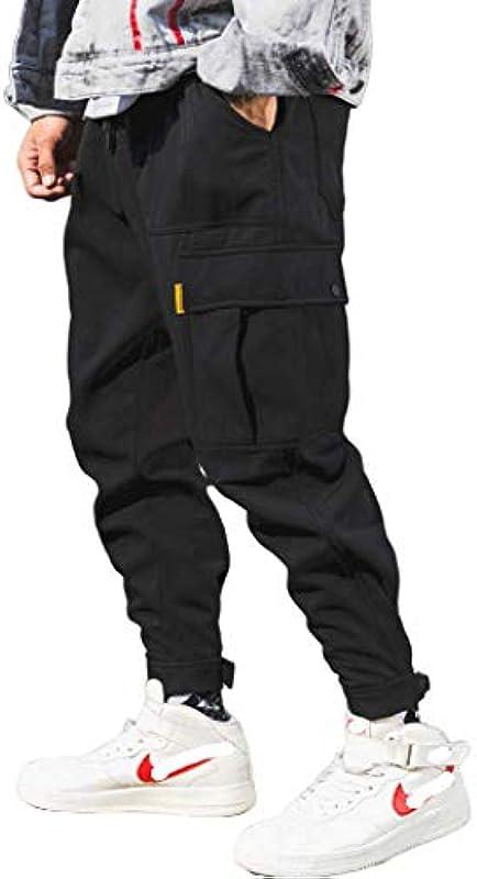 N/ A moda męska trendy haremki luźne spodnie do joggingu tapered Cuff Woven Pants Bottom Adjust Width Tapered Pants: Odzież