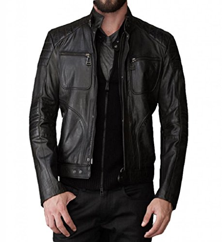 Lambskin Leather Fashion Jacket (Leather Bomber Men's Motorcycle Biker Lambskin Leather Jacket Small Black)