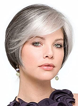 Magic Wig World New Short Ash Grey Ombre Classical Cropped Chic Curly Shaggy Wig Haircut Style Amazon In Beauty