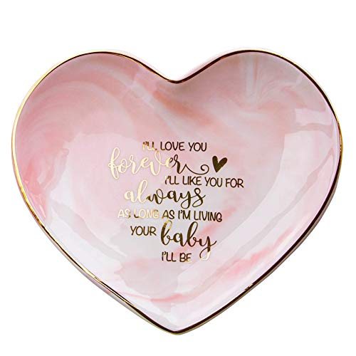 VILIGHT Moms Wedding Gift from Bride and Groom - Mother's Marble Ceramic Heart Jewelry Tray - Large Size 5.5 Inches (Wedding Gift For Bride From Groom Jewelry)