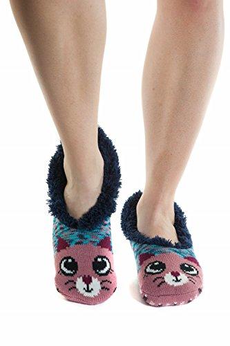 Womenss Slip Resistant Sole Faux-Fur Slipper Booties Socks Cat 2ILJMRnKiZ