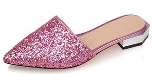 IDIFU Women's Sexy Sequins Closed Pointed Toe Slip On Sandals Low Block Heel Summer Slippers Pink