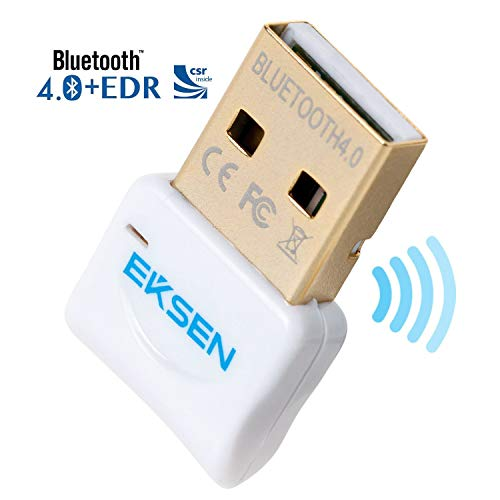 Bluetooth CSR 4.0 USB Dongle Adapter, EKSEN Bluetooth Transmitter and Receiver for Windows 10/8.1/8 / 7 / Vista - Plug and Play on Win 7 and Above - White