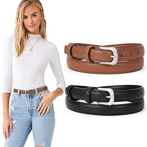 SUOSDEY Skinny Leather Belt Solid Color With Pin Buckle Simple Waist Belt Jeans Dress Pants Mother's Day Gifts