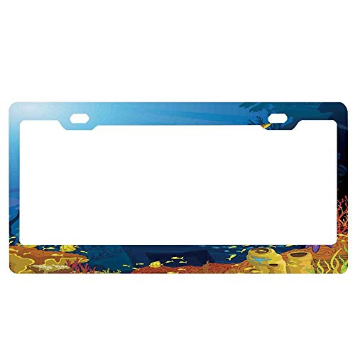 Coral,Beautiful Vanilla Sky with Clouds Tenderness Dreamy Unreal Soft Heavenly,Light Pink Coral Lilac Universal License Plate Frame Aluminum Metal 2 Holes Car for US Standard