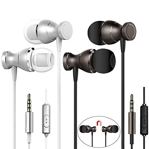 2 Packs Magnetic Earbud Headphones with Remote & Microphone, DaKuan in Ear Earphone Stereo Sound Noise Isolating Tangle Free for Smartphones, Laptops, Gaming, Fits All 3.5mm Interface - Pair Earphones 2