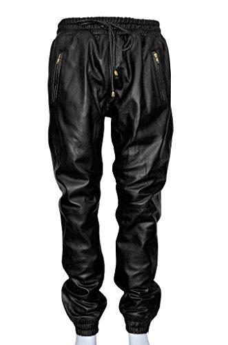 Black Lambskin Leather Pants - Leather Scan Men's Lambskin Leather Moto Biker Jogger Pant.