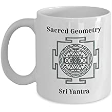 Sacred Geometry Mug Gifts Sri Yantra Attainment of spiritual and material wealth for inner connection to the Divine intelligence within Ceramic Coffee