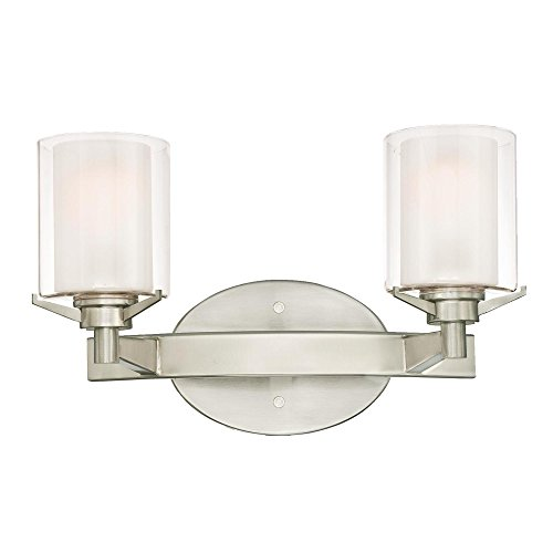 Clear Outer Shade - Westinghouse Lighting 6331000 Glenford Two-Light Indoor Wall Fixture, Brushed Nickel Finish with Frosted Inner and Clear Glass Outer Shades