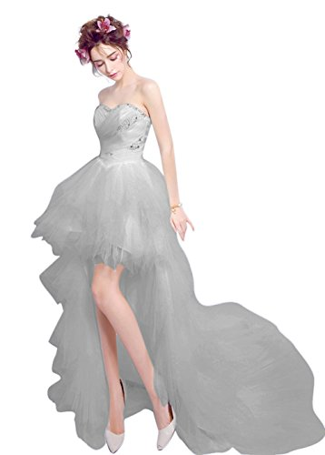 Gray Wedding Low Homecoming Party Sweetheart Dresses Women's Prom High BessWedding wqIzHPxE