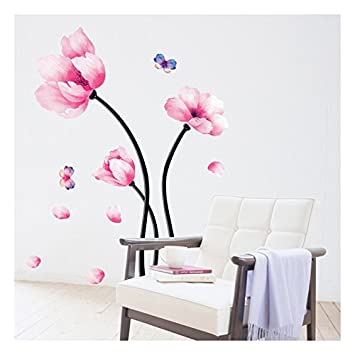Amazoncom Wall Decal Pink Flower Wall Mural Peel And Stick - Vinyl wall decals removable