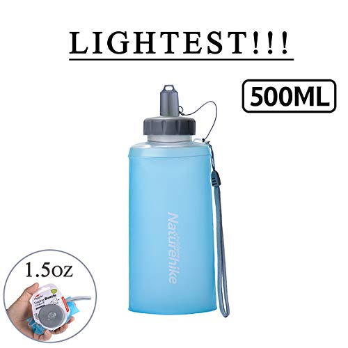 Improved Collapsible Water Bottles - Designed for Travel Outdoor - Best Foldable Portable Reusable Water Bottle for Camping Backpacking Hiking Climbing School Pets Many Hydration use – 500ml
