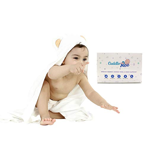 CUDDLE MEE -Ultra Soft Organic Bamboo Baby Hooded Towel and Washcloths Set Super Absorbent Hypoallergenic & Antibacterial   Perfect for Baby Towel Newborn/Infant/Toddler Shower Gift for boy & Girl (Hooded Hooded Bath Towels Towel Bath)