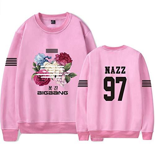 Loose Femmes Bigbang Hommes shirts Pour Décontractée Fashion Pullover Manche Floral Imprimés Et Longue Col Pink06 Unisexe Rond Sweat 8axd600